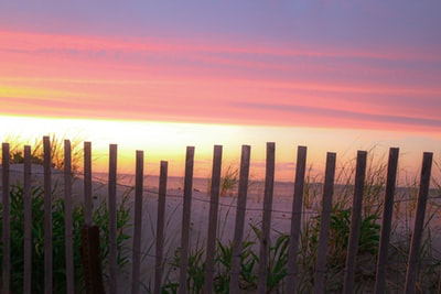 brown wooden fence during sunset cape cod teams background