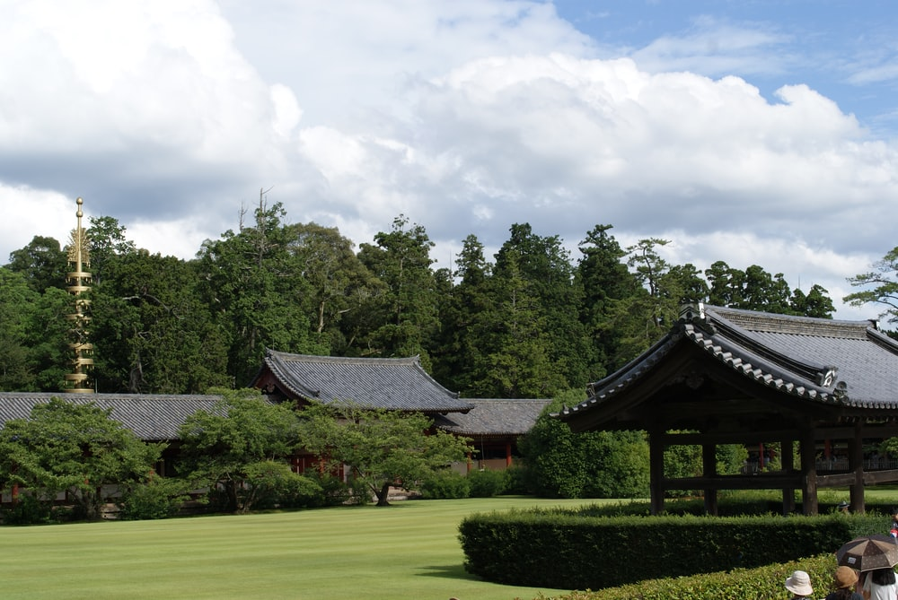black and white house surrounded by green grass field and trees under white clouds and blue