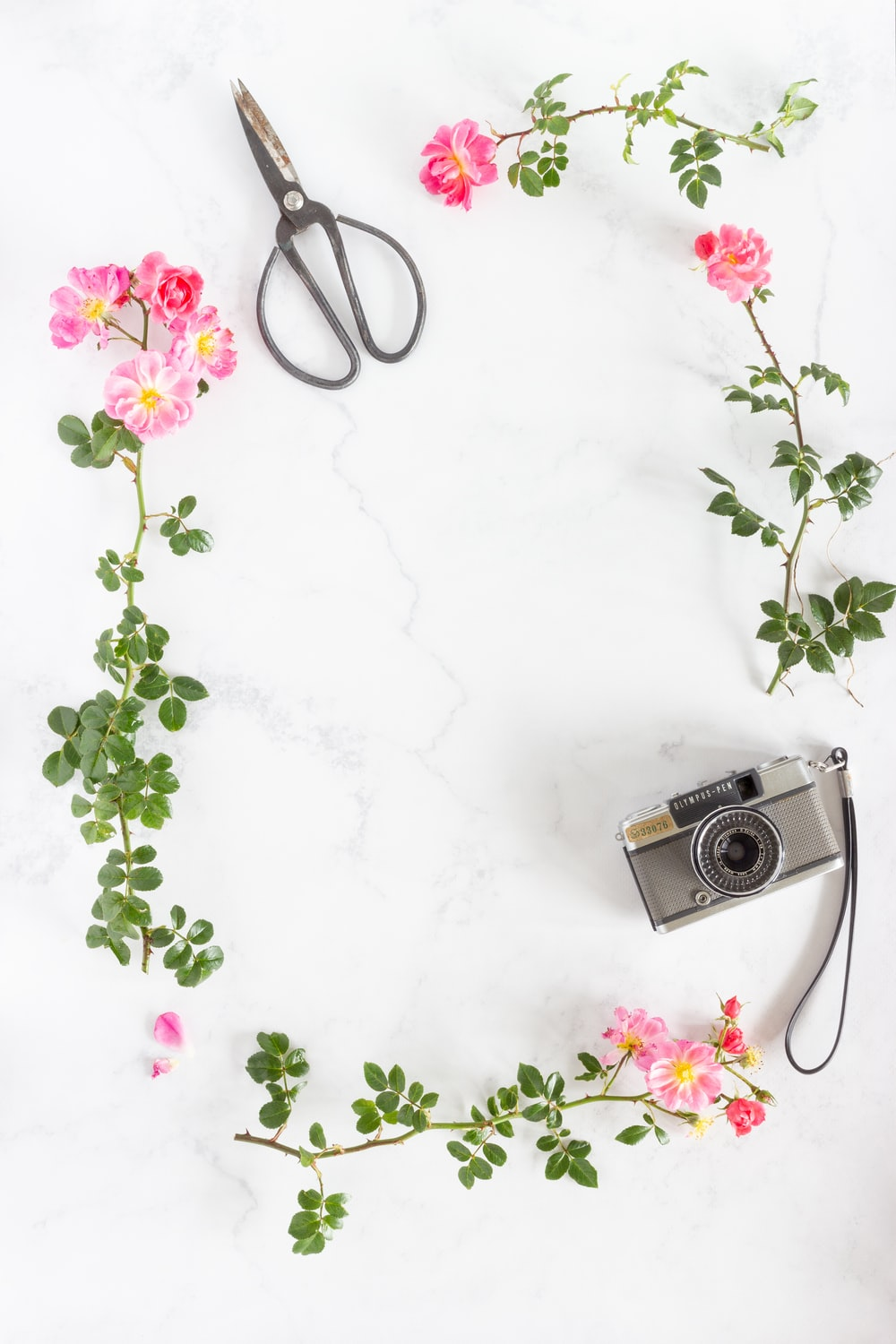 silver and black camera on white floral textile