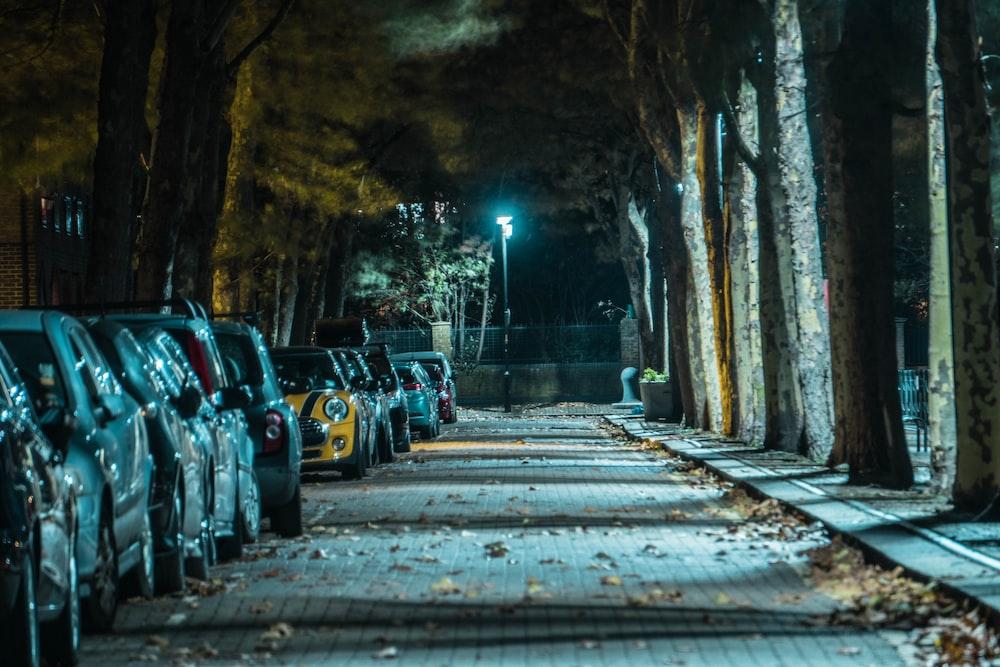 夜間に道路脇に駐車した車