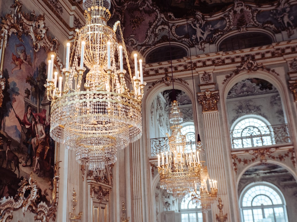 gold and white glass chandelier