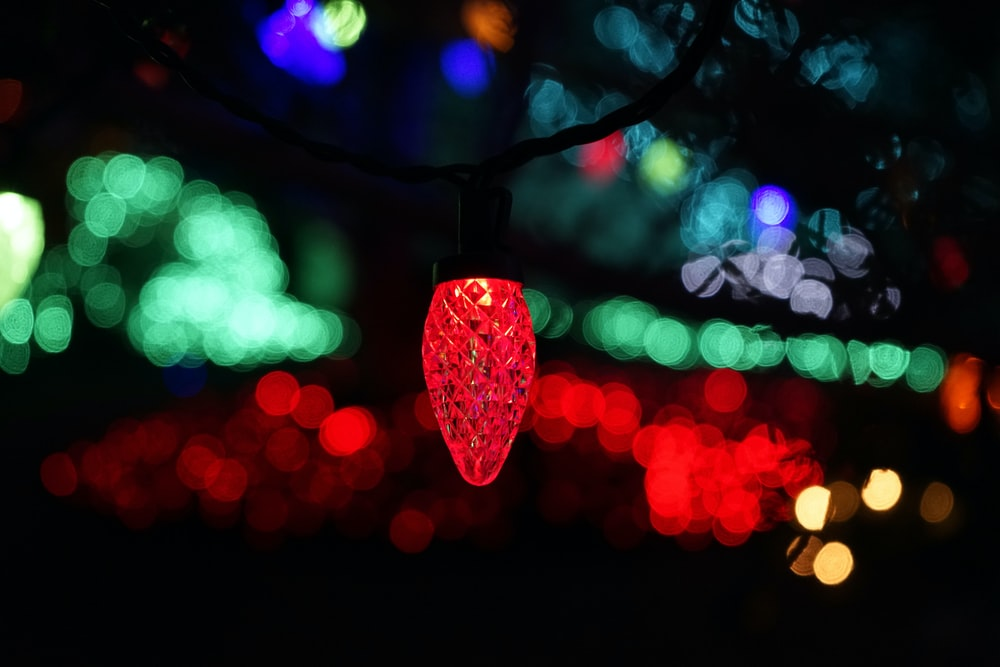 red heart with purple bokeh lights