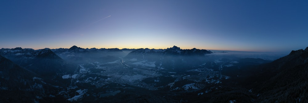 aerial view of mountains during night time