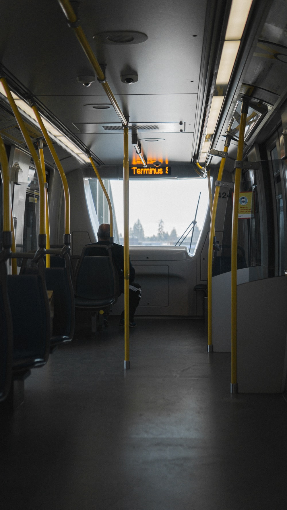 black and gray bus seats