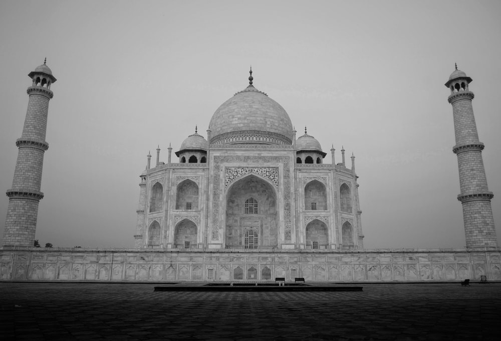 grayscale photo of dome building