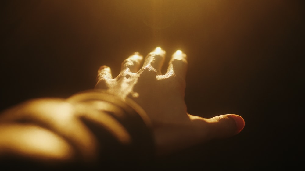 person holding lighted candle in dark room