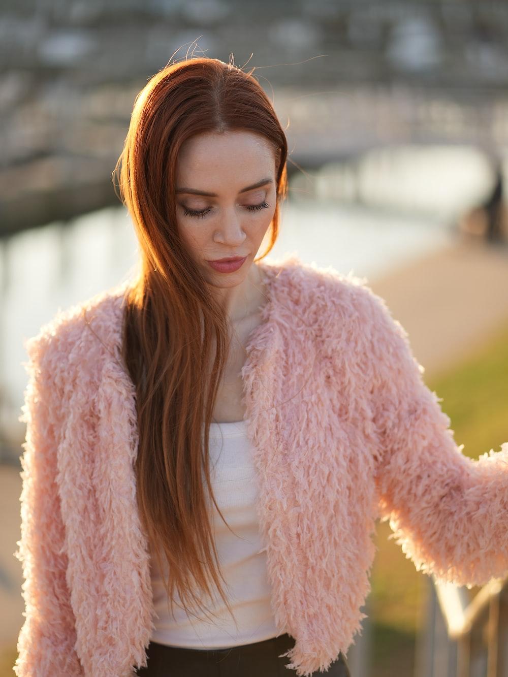 woman in white fur coat