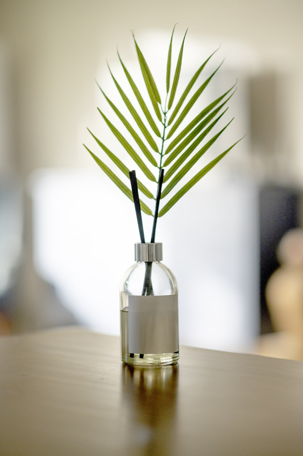 green plant in clear glass bottle on brown wooden table