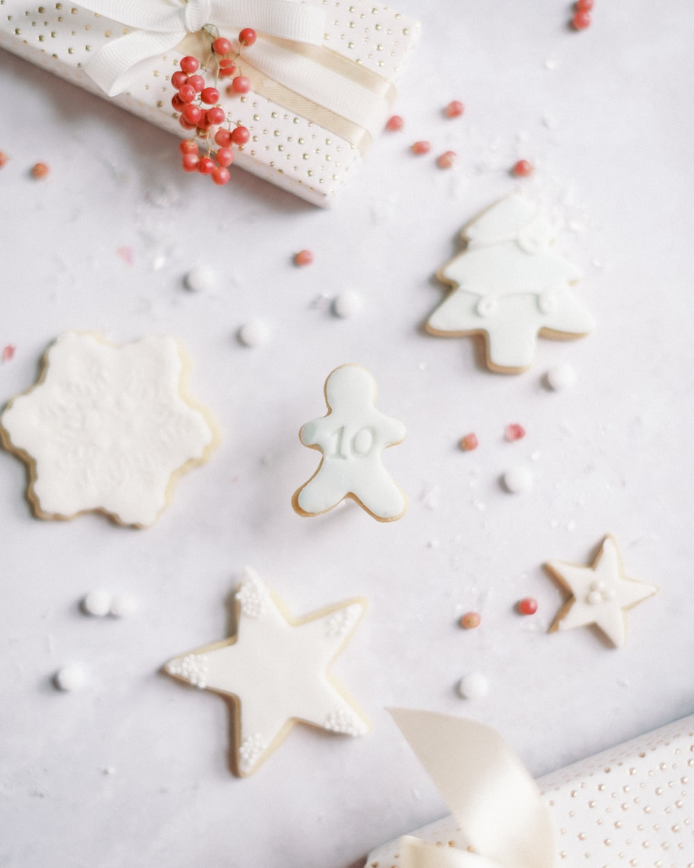 white star shaped cookies on white ceramic plate