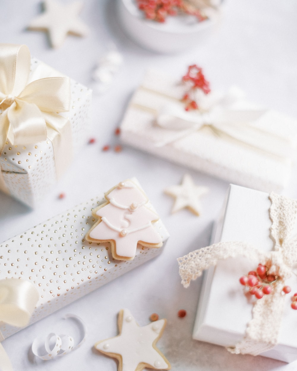white and red floral gift box