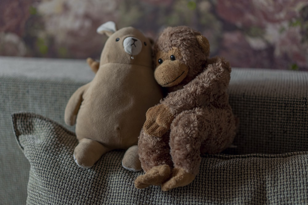 brown bear plush toy on brown textile