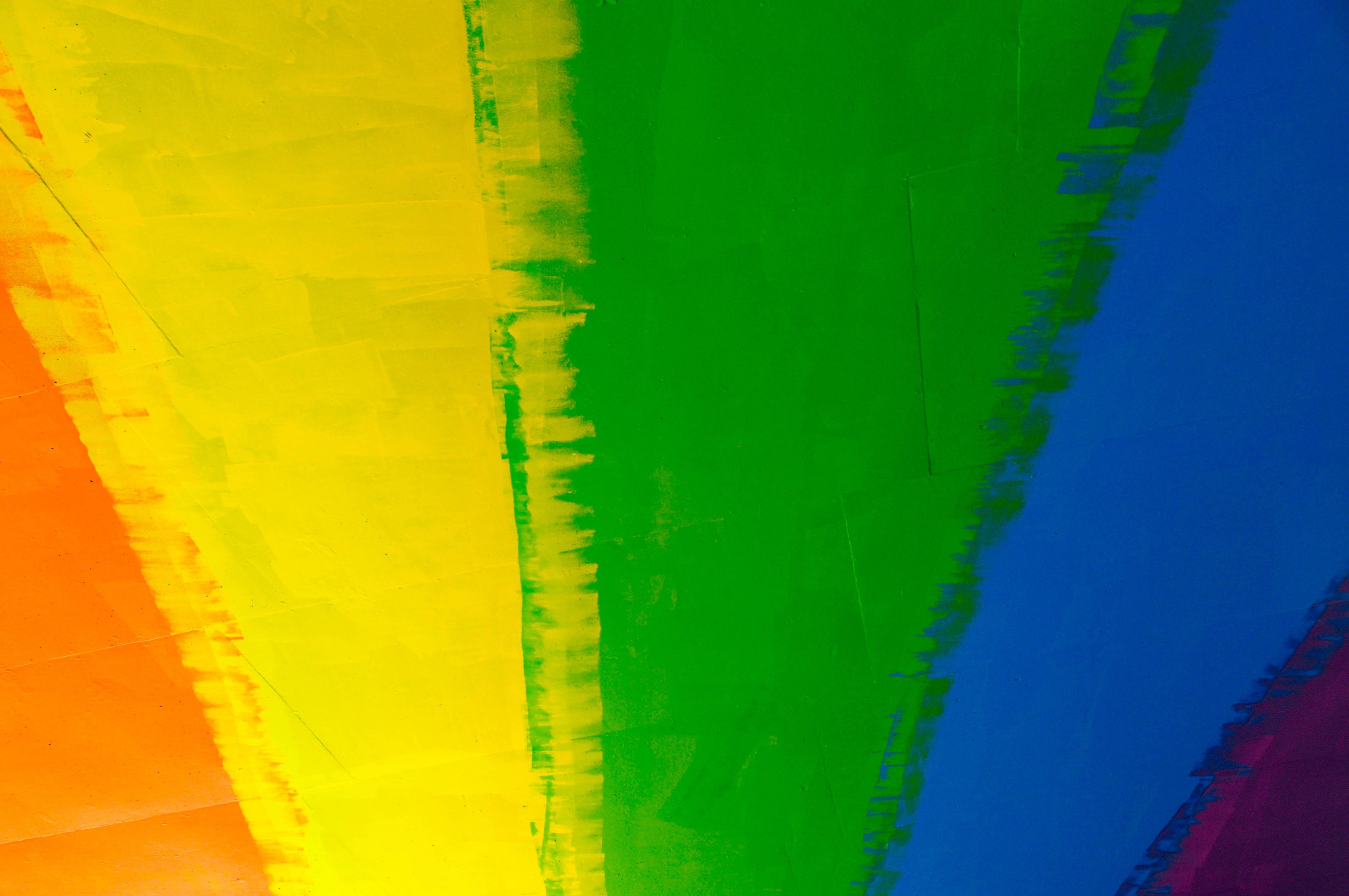 Rainbow painted under a bridge in Calgary Alberta Canada.