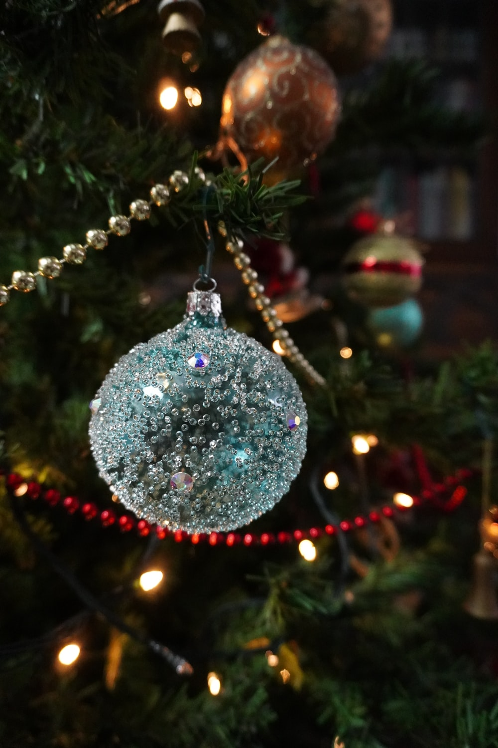 silver and red christmas baubles