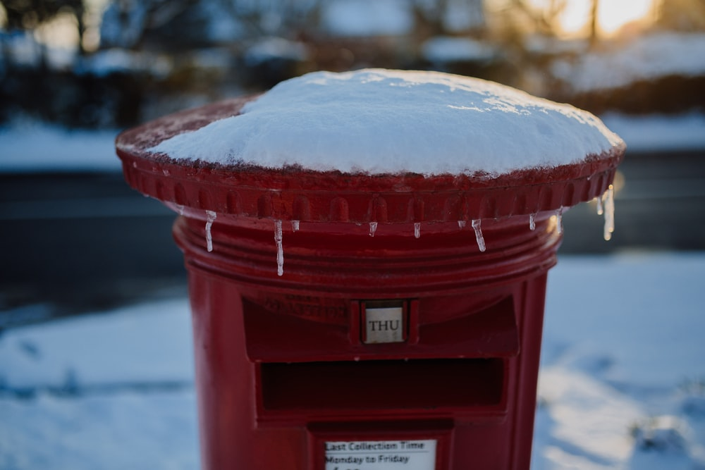 red and white mail box