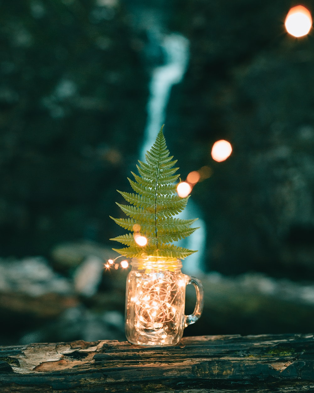 gold christmas tree with string lights