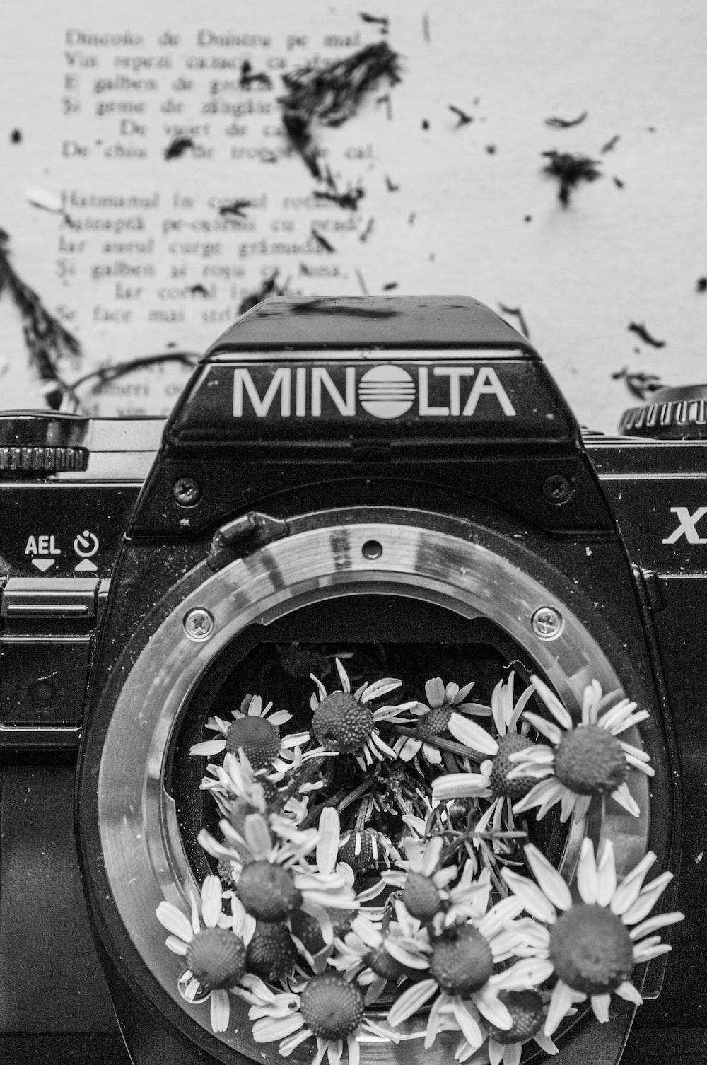 grayscale photo of nikon dslr camera