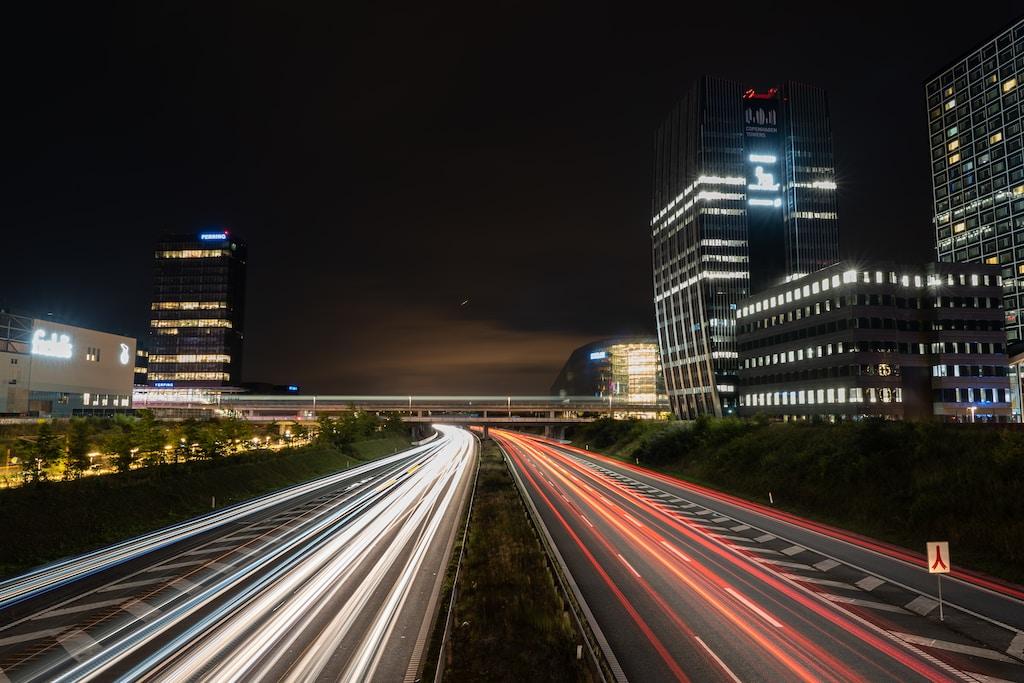 Lighttrails on the highway at Ørestad, Denmark