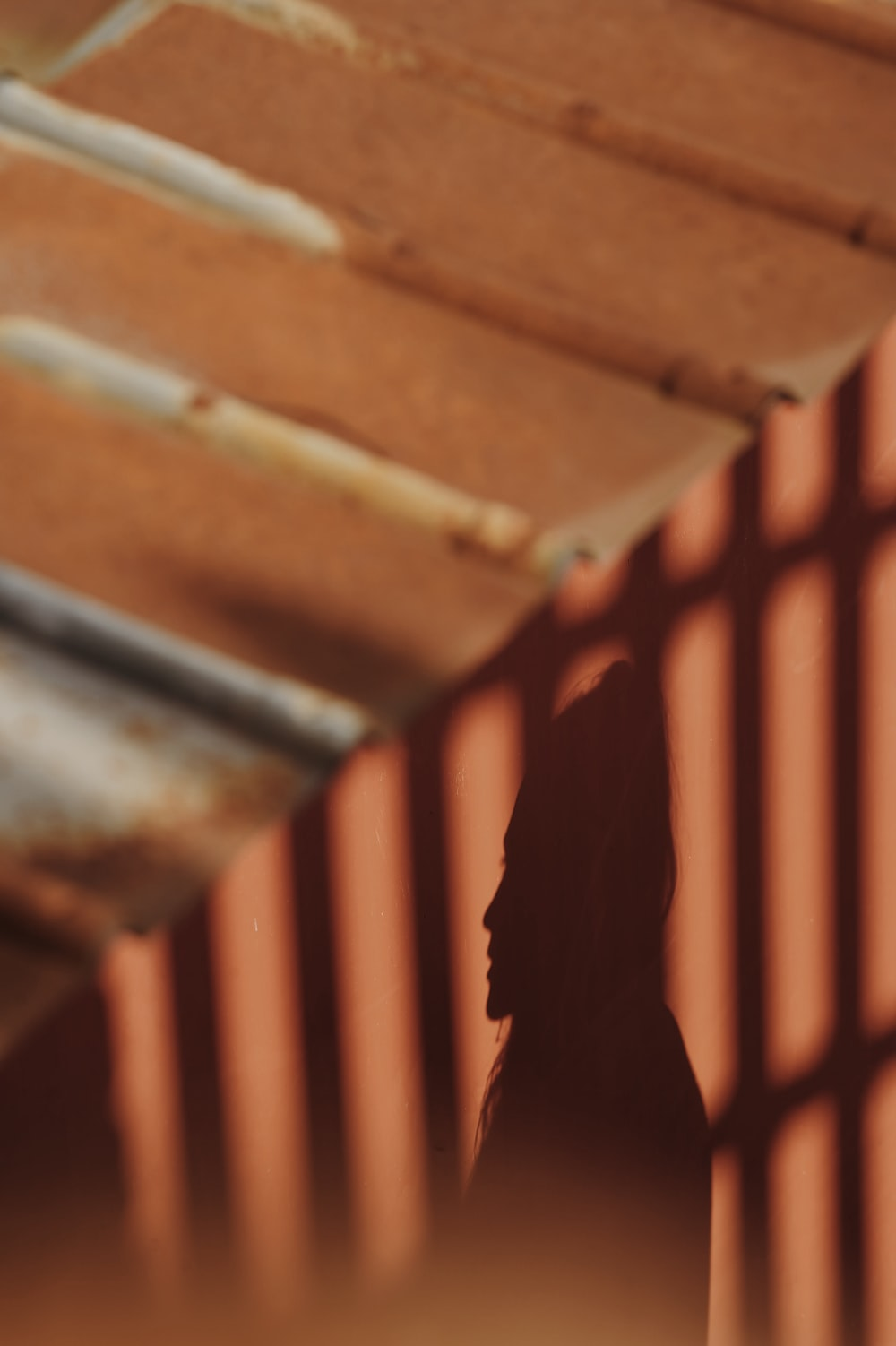 shadow of woman on brown wooden fence during daytime