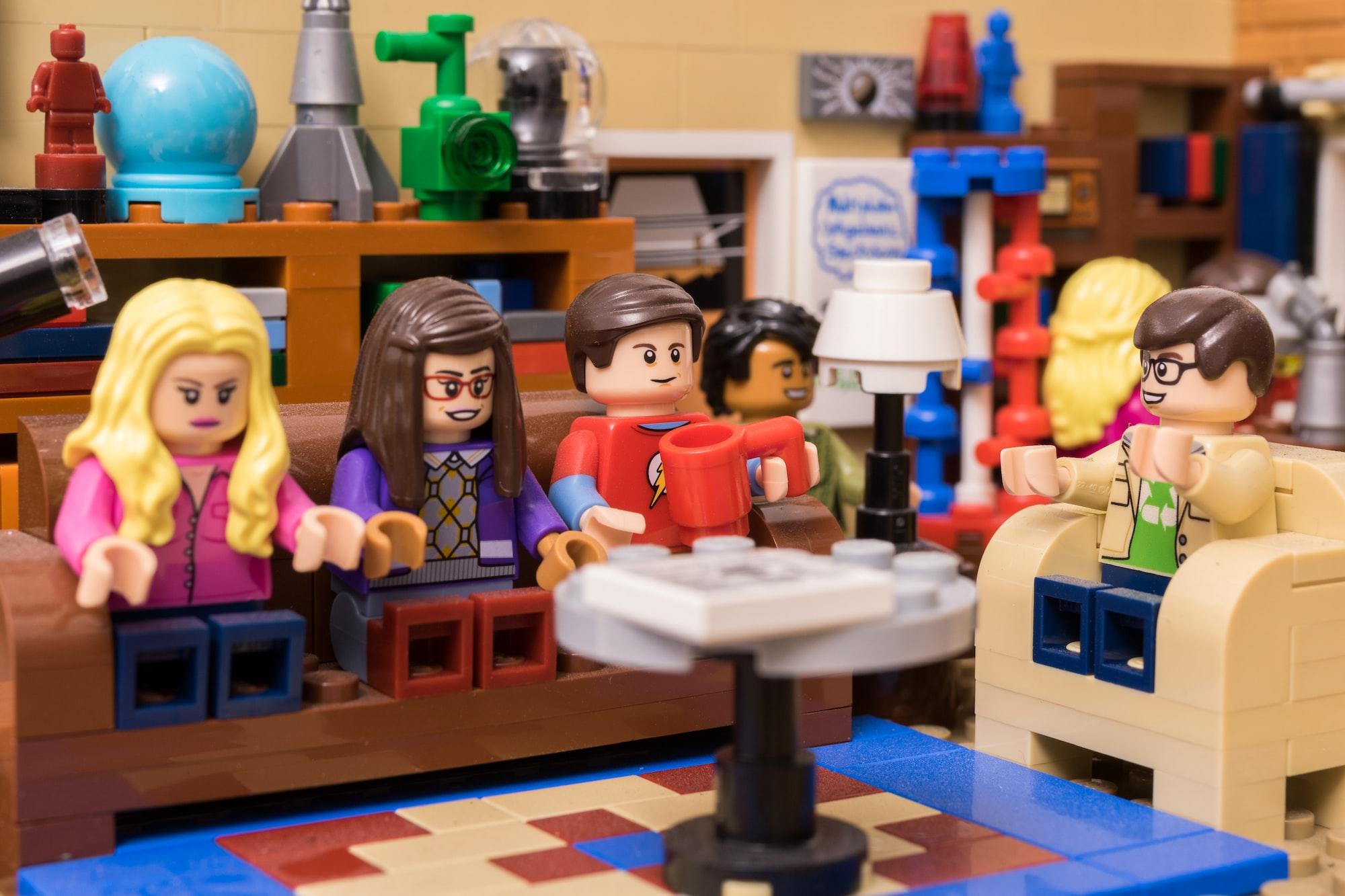 A macro of the Lego Big Bang Theory set