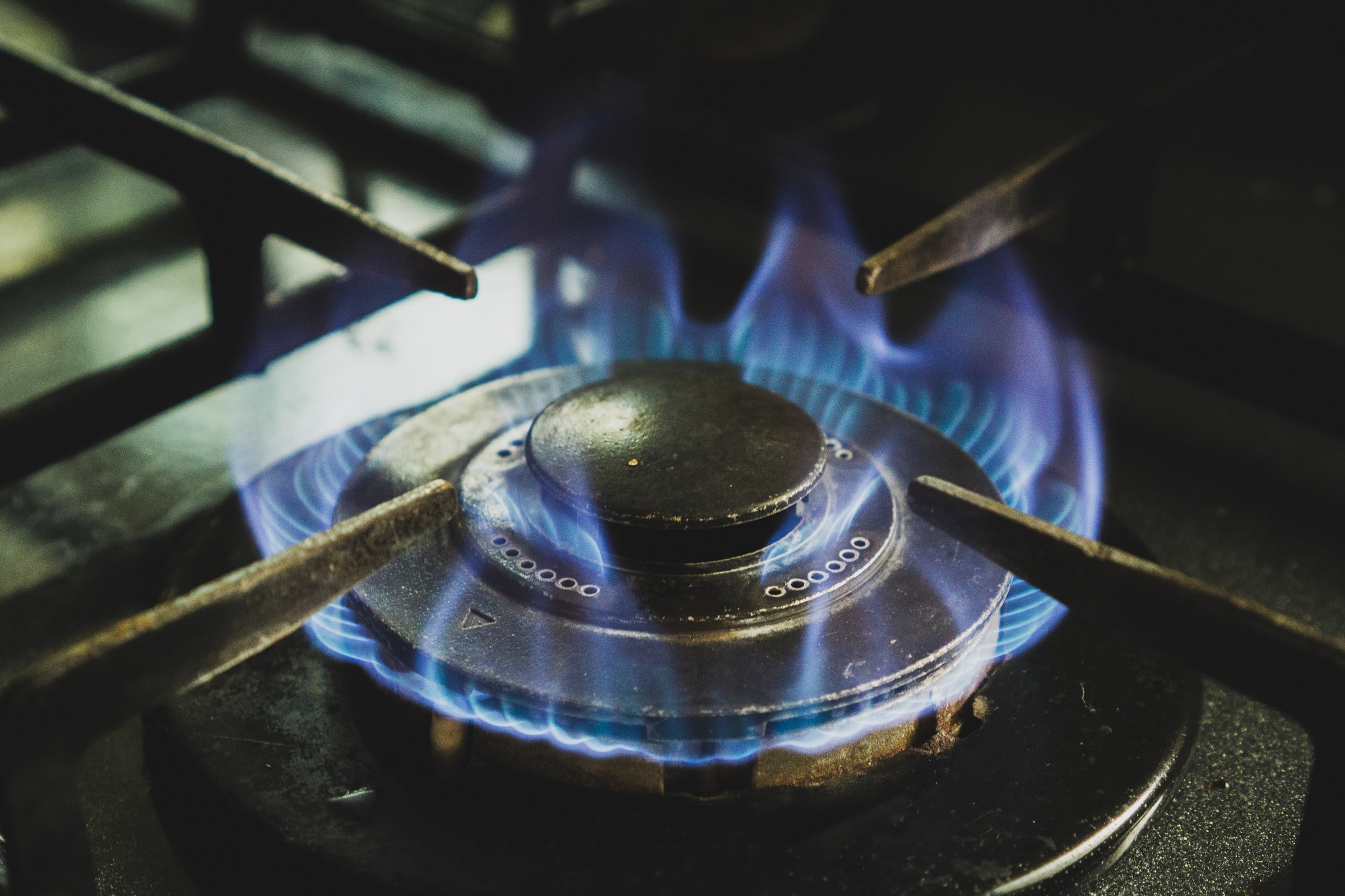 black and white gas stove