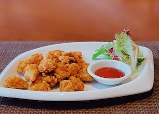 fried chicken on white ceramic plate