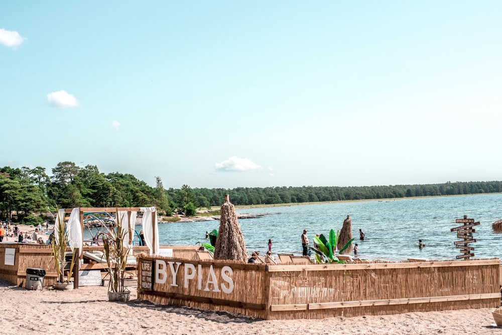 people sitting on brown wooden bench near body of water during daytime