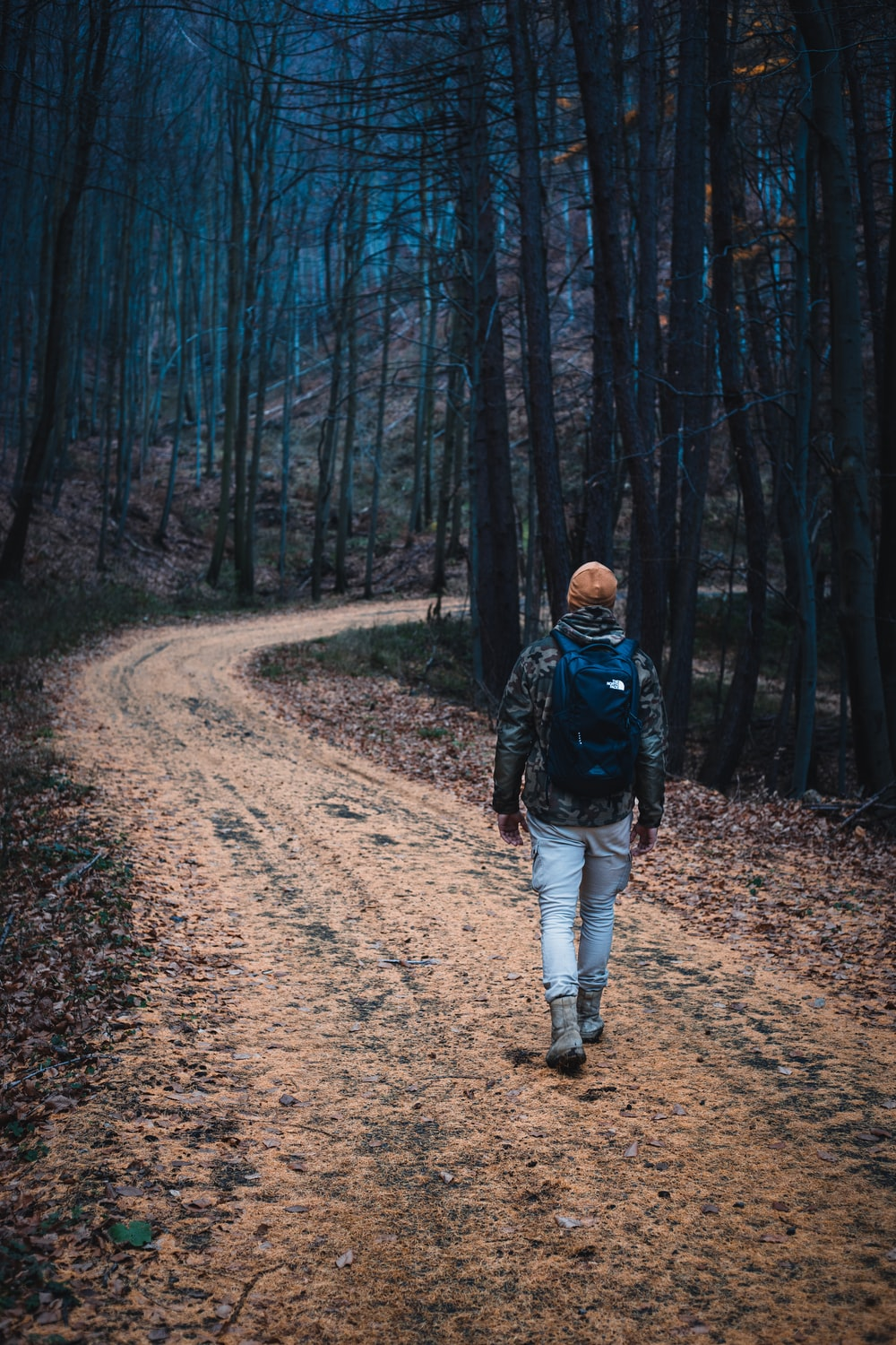 man in black jacket walking on dirt road in the woods during daytime