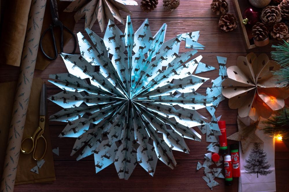 white and blue star decor