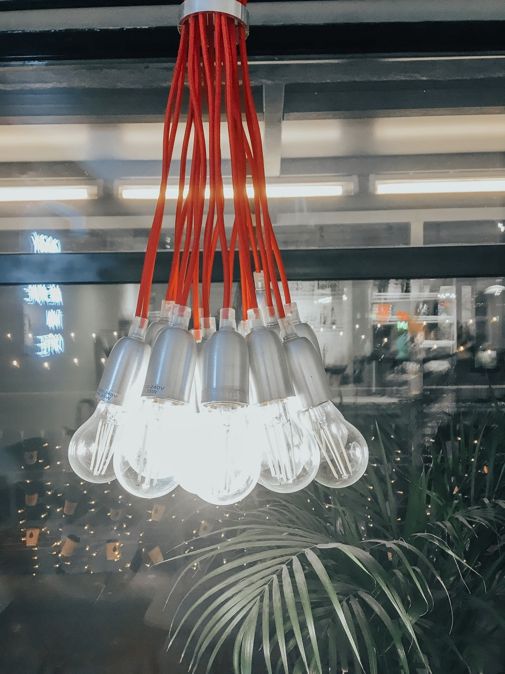 white and red pendant lamp