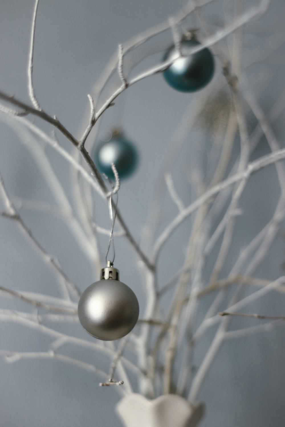 silver baubles on brown tree branch