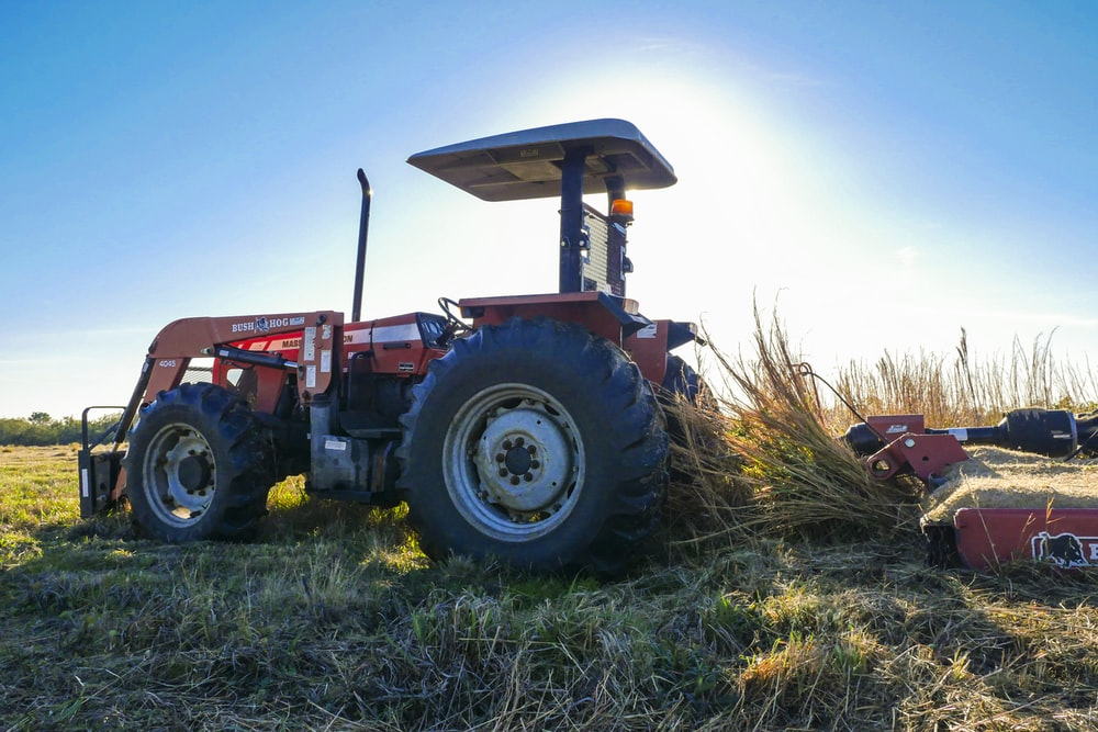 blue and red tractor on green grass field under blue sky during daytime