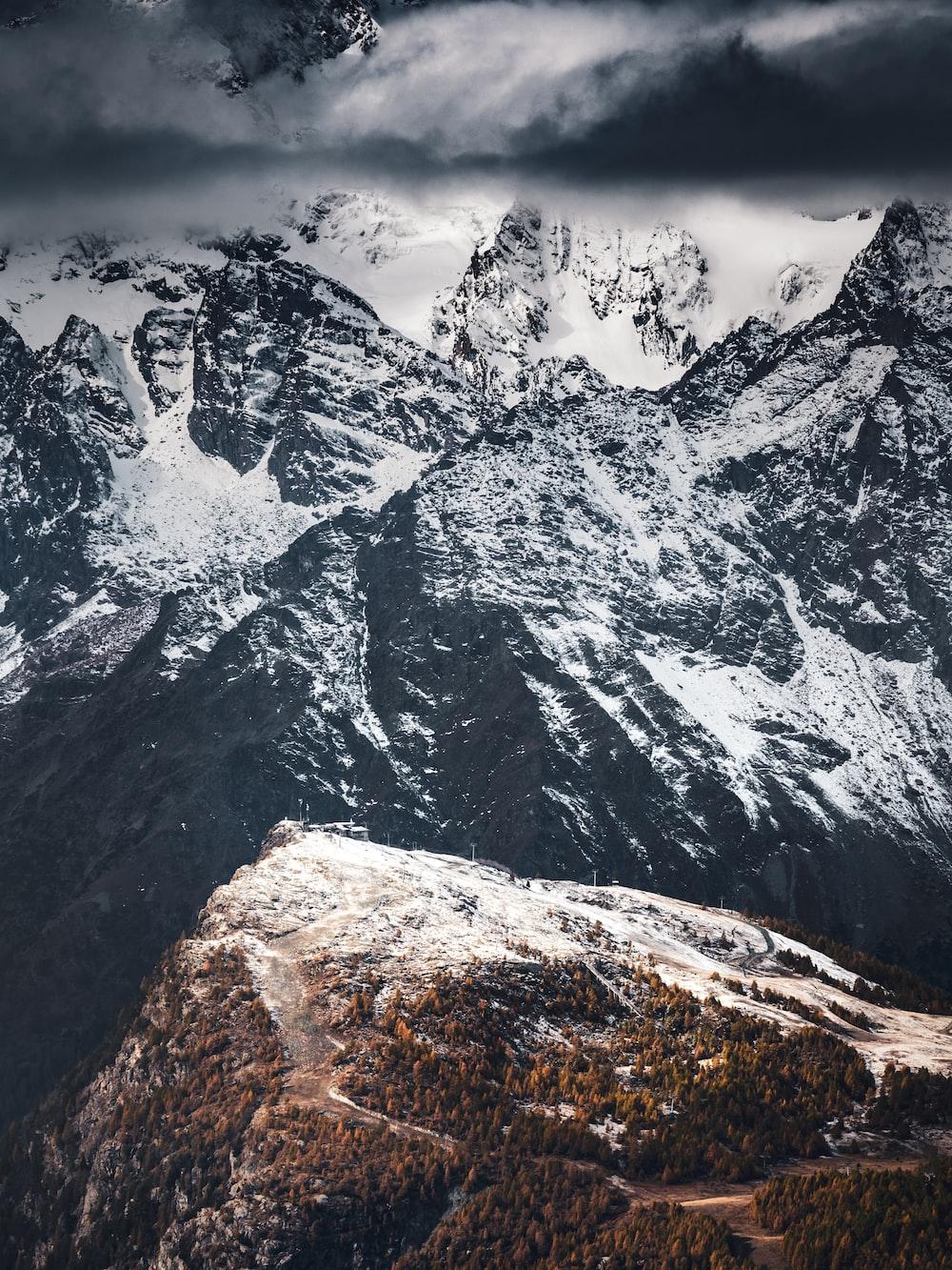 black and white mountain range