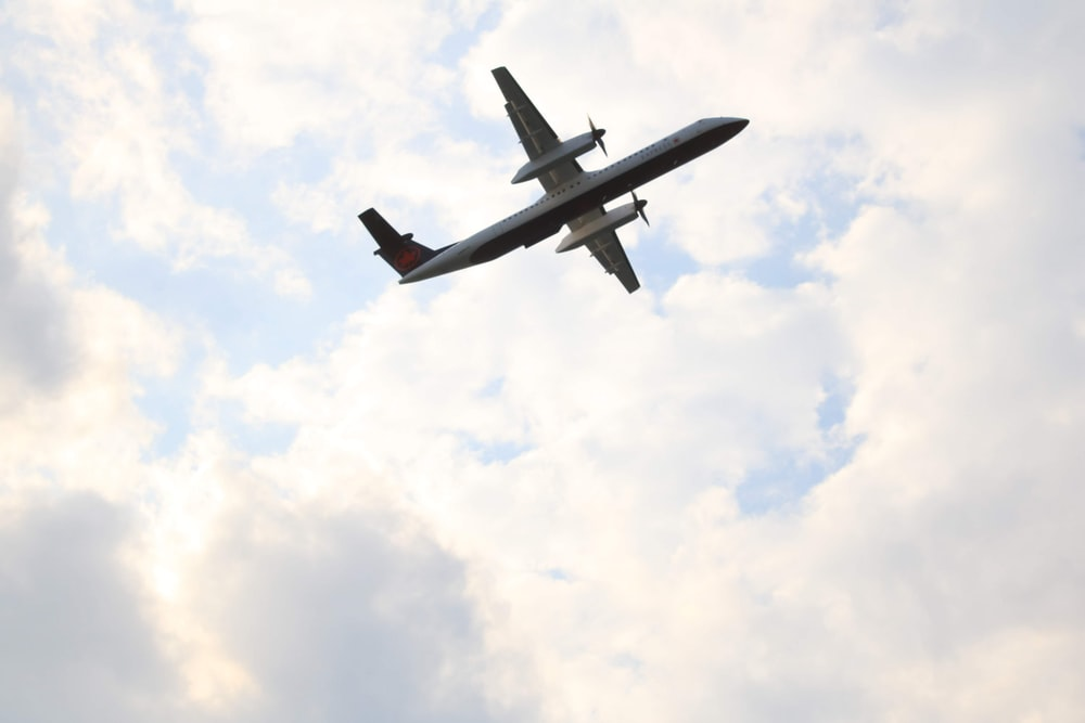 black airplane in mid air during daytime