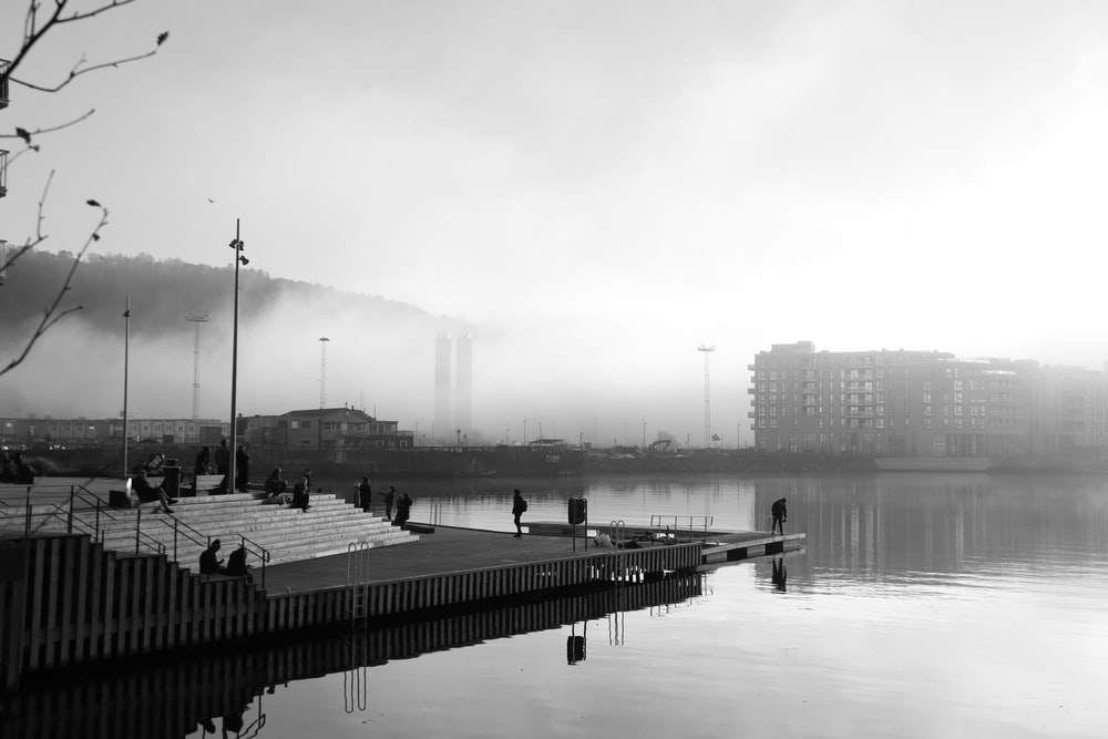 grayscale photo of a dock on a lake