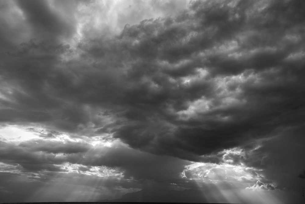 grayscale photo of clouds and sky