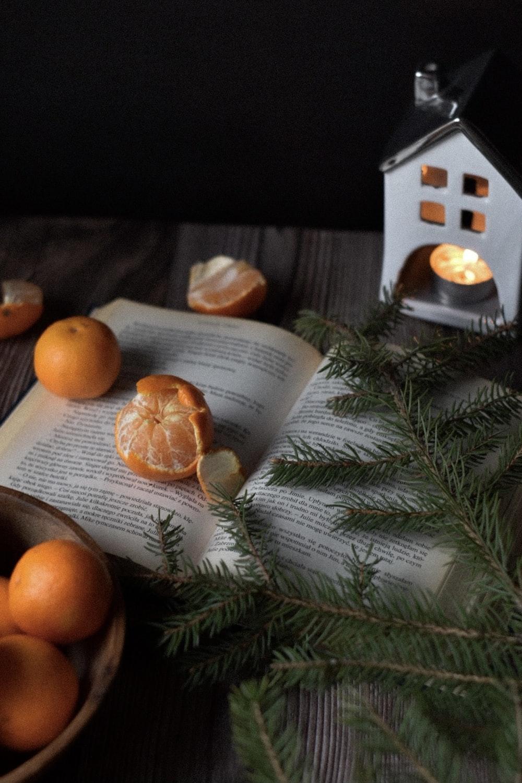 orange fruit on white book page