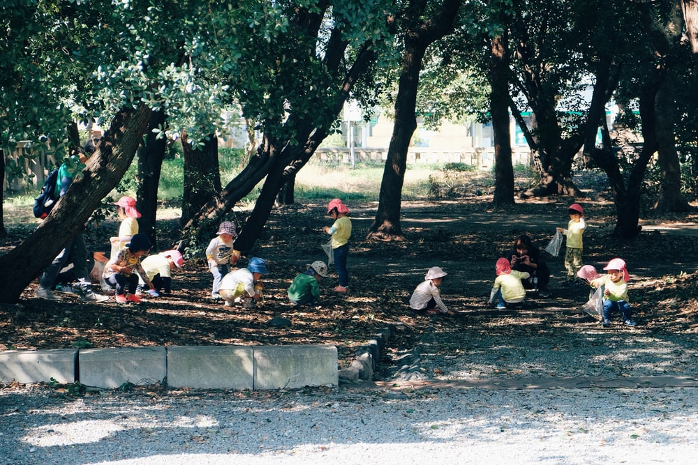 people sitting on concrete bench near trees during daytime