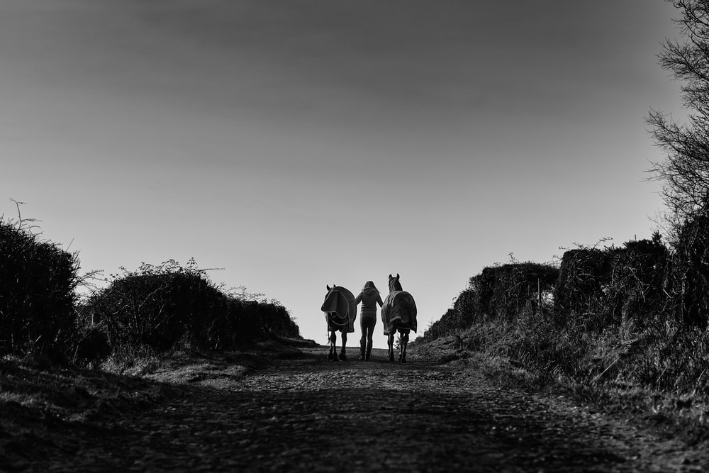 grayscale photo of people walking on the road