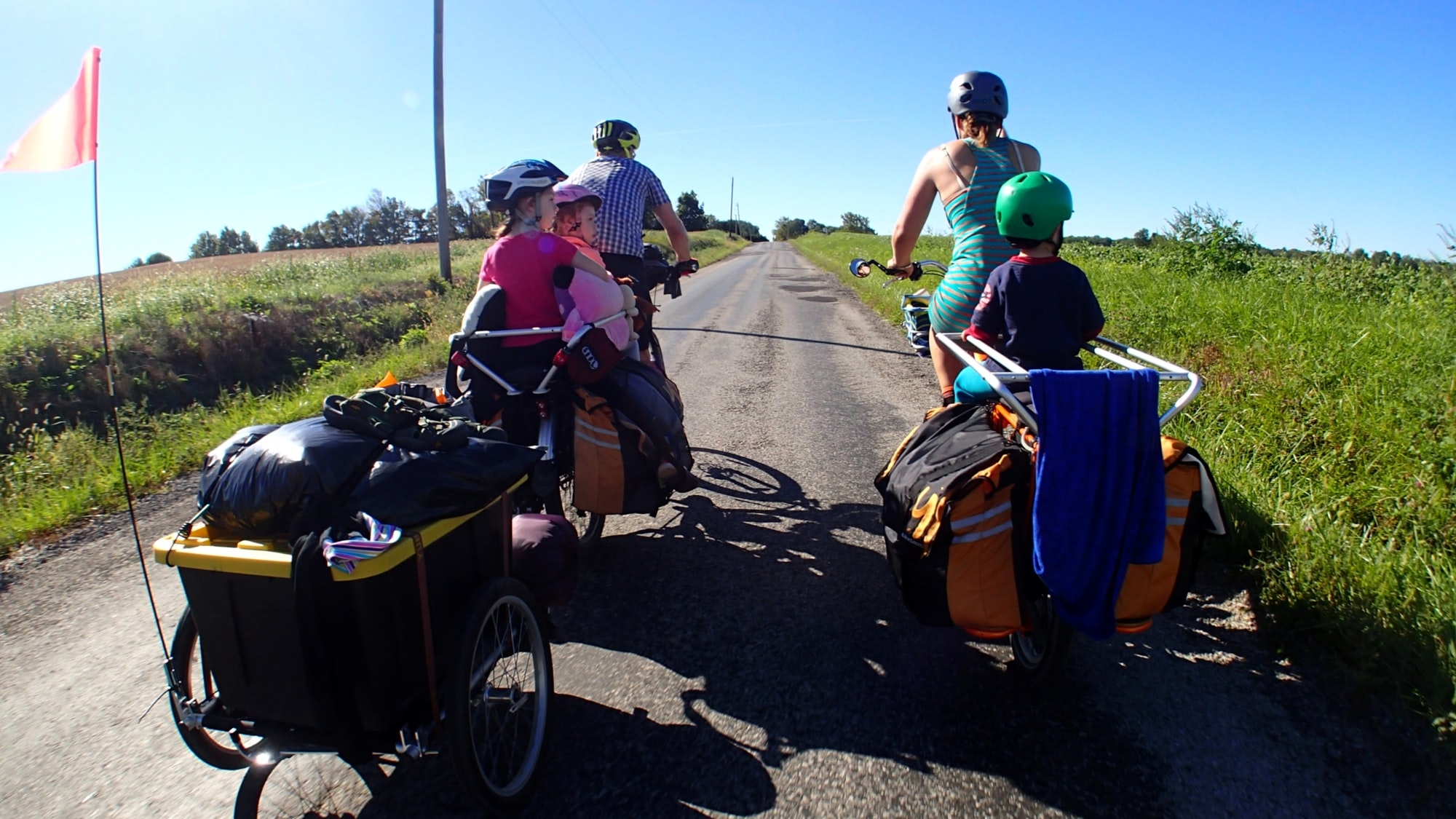 Biking home from an overnight familiy bike camping trip with cargo bikes.