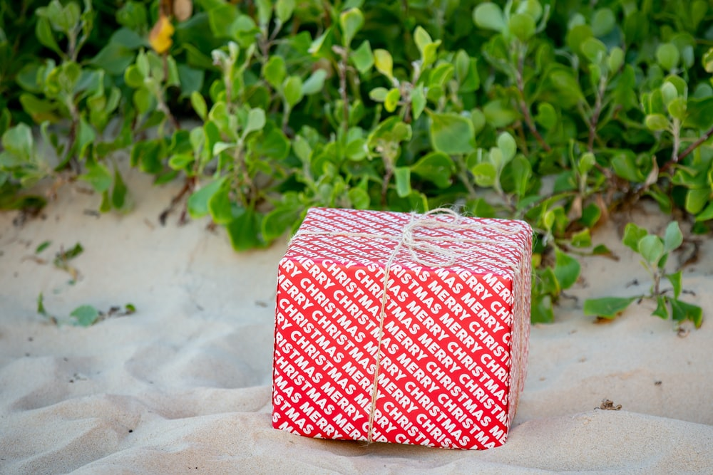 red and white checkered box on white sand