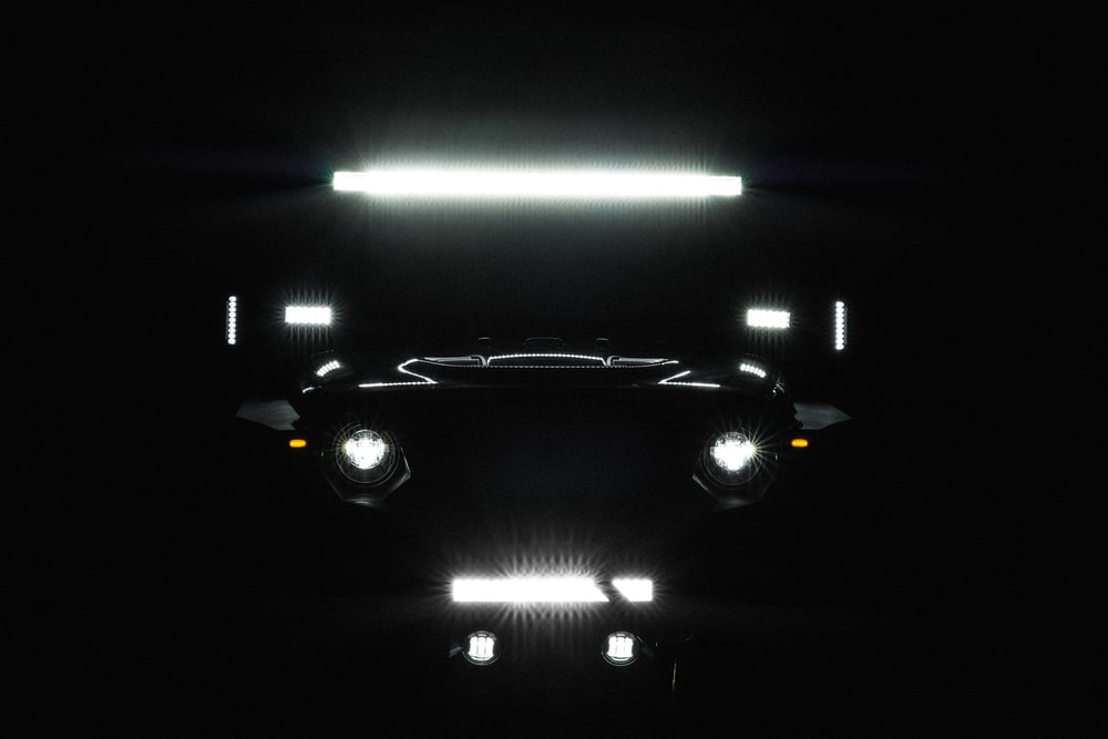 black car on a parking lot