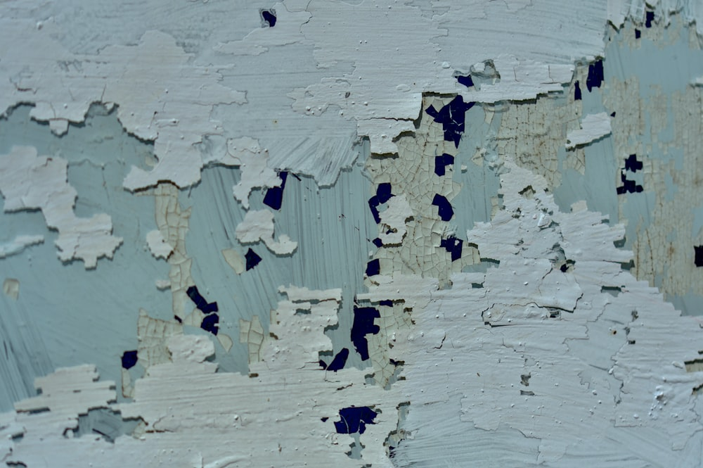 white and blue abstract painting