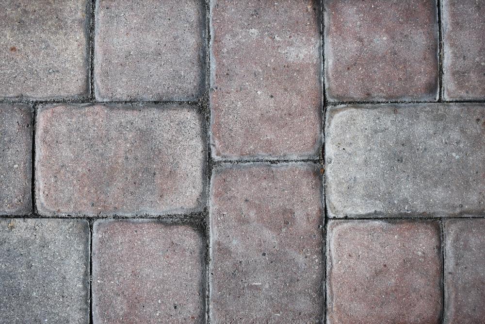 brown and gray brick floor