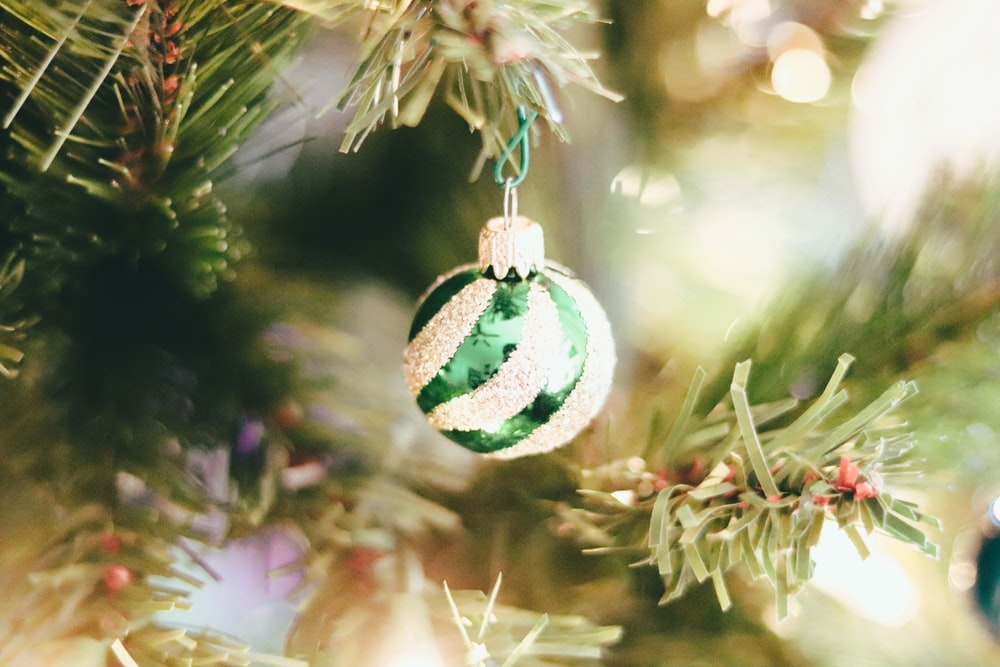 green and white christmas bauble