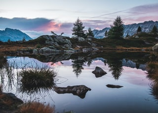 colorful sunset before a camping night at the crap alv lajets on the albula pass in switzerland.