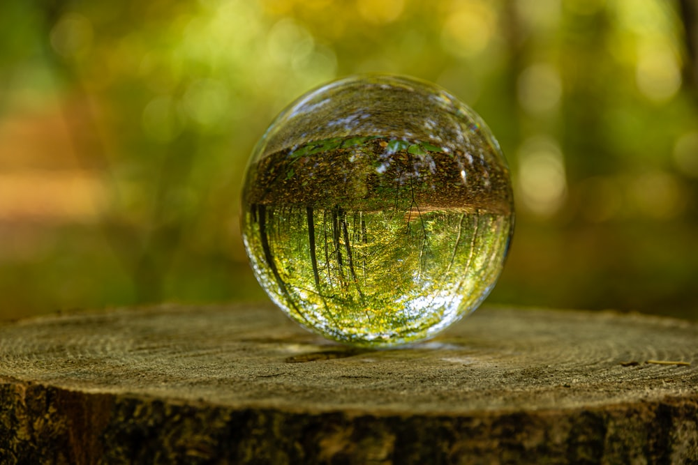 clear glass ball on brown wooden surface