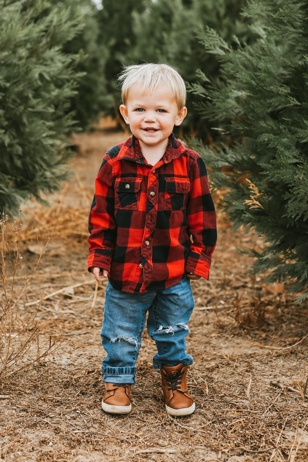 boy in red and black plaid dress shirt standing on brown grass field during daytime