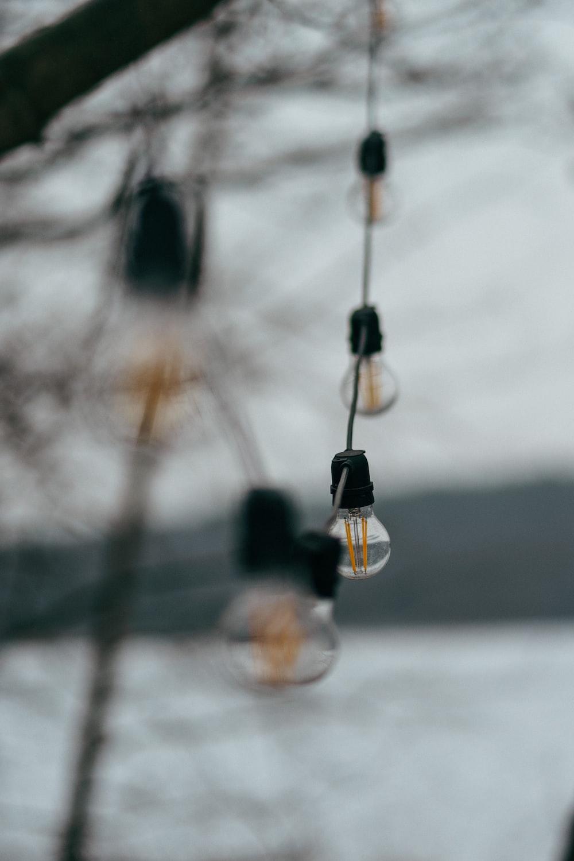 black and white hanging light bulb