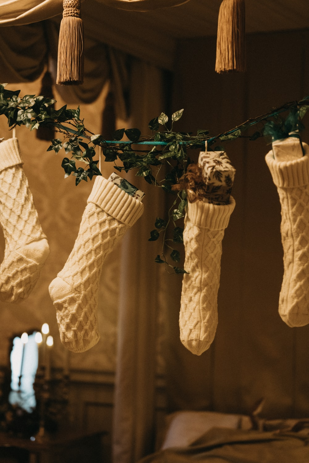 white and brown hanging decor