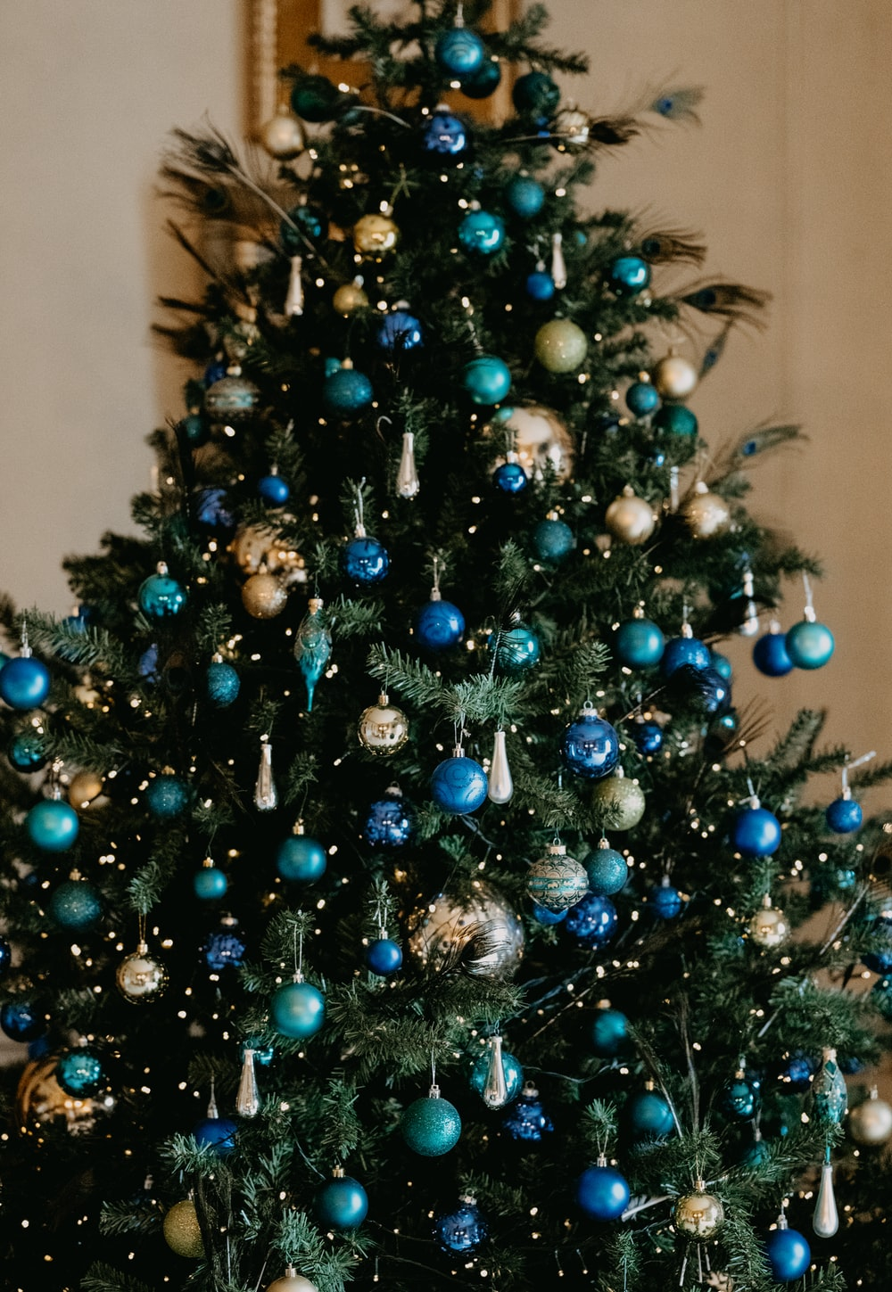 green christmas tree with blue baubles